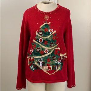 "Pretty "" ugly "" Christmas tree sweater"